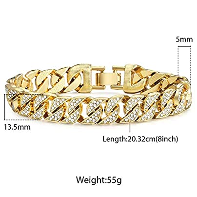 ZUOZUO Leather Wristband 14Mm Men S Bracelet Hip Hop Link Gold Silver Iced Dew Rhinestone Men S Wristband Street Estimated Price £29.99 -