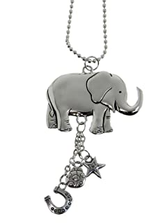 GRAHAM DUNN Think Happy Be Happy Floral Elephant Wood Car Charm CAR0061 P