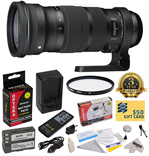 - Sigma 120-300mm f/2.8 DG OS HSM Lens (137306) With 3 Year Extended Lens Warranty for the Nikon D700 D300S D300 D200 D100 D90 D80 D70 D70s D50 DSLR Camera Includes - Vivitar 105mm Multi-Coated UV Filter + Replacement Battery Pack for the Nikon EN-EL3E 2000MAH + 1 Hour AC/DC Battery Charger + Deluxe Lens Cleaning Kit + LCD Screen Protectors + Wireless Shutter Release Remote Control + Mini Tripod + 47stphoto Microfiber Cloth + $50 Photo Print Gift Card!