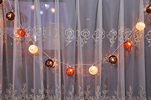 Rattan ball String Lights Earth Brown Tone Lantern String Light Kid Bedroom Light Display Garland Colorful Battery AA LED 25 lights by Thai Decorated