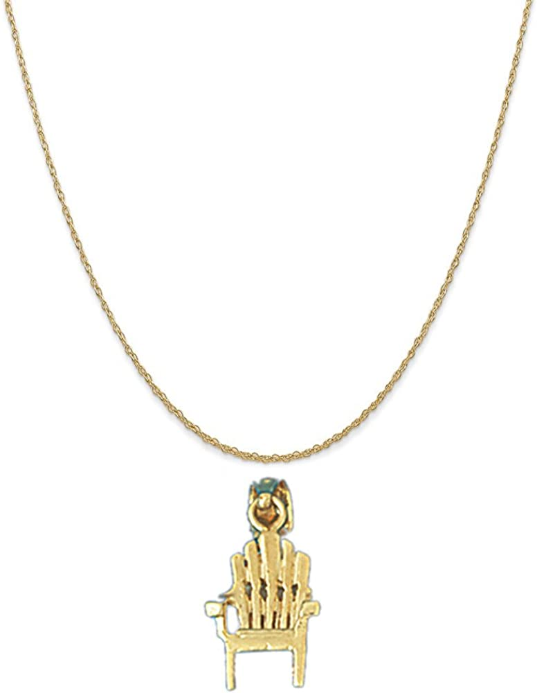 Box or Curb Chain Necklace 14k Yellow Gold 3-D Beach Chair Pendant on a 14K Yellow Gold Rope