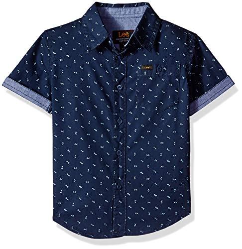 LEE Boys' Little Short Sleeve Button Up Shirt, Arrow Navy, M -