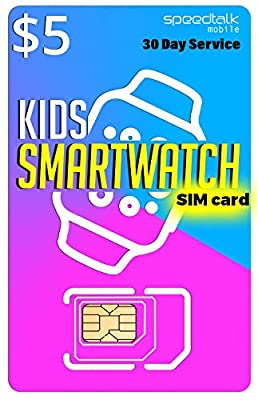 $5 SIM Card for Kids Smart Watch - 3 in 1 SIM Card GSM 2G 3G 4G LTE - Kids Smartwatches Wearables - 30 Day Service