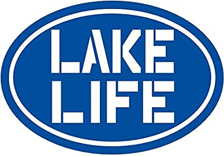 Perfect Lake Boating or Home Gift WickedGoodz Oval Vinyl Blue Lake Life Decal Bumper Sticker