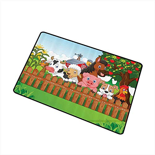 Stylish Commercial Grade Entry pad Kids Cartoon Collection of Cute Farm Animals on The Fence Comic Mascots with Dog Cow Horse for Kids Decor W16 xL20 Easy to Clean Carpet Fabric