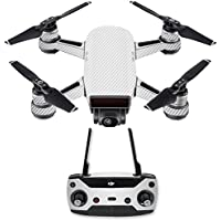 Skin for DJI Spark Mini Drone Combo - White Carbon Fiber| MightySkins Protective, Durable, and Unique Vinyl Decal wrap cover | Easy To Apply, Remove, and Change Styles | Made in the USA