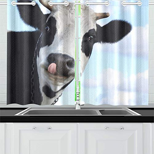 Used, Funny Smiling Cow Tongue On Blue Kitchen Curtains Window for sale  Delivered anywhere in Canada
