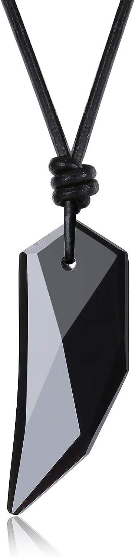 COAI Collar con Colgante Diente de Lobo de Obsidiana Natural