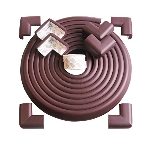 Tritina Corner and Edge Guards - 14ft (4.3m) [ 13ft Edge Cushion + 8 Corner Cushion ] Premium Childproofing Protector,Child Safety,Home Safety 1st Mamami (Brown) by Tritina