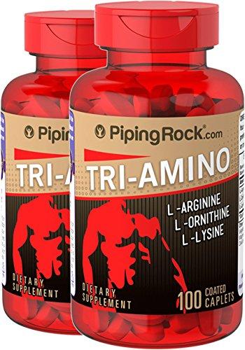 Piping Rock Tri Amino L-Arginine L-Ornithine L-Lysine 2 Bottles x 100 Caplets Dietary Supplement