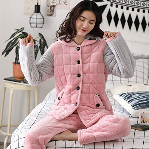 Suit Cute 75kg 162cm Home Hooded Service Cotton Pajamas Long 172cm Three Coral 30 Xxl164 M150 Winter 65 Pajamasx Women's 50kg sleeved Velvet layer Thick PqZAgw