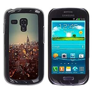 Caucho caso de Shell duro de la cubierta de accesorios de protección BY RAYDREAMMM - Samsung Galaxy S3 MINI NOT REGULAR! I8190 I8190N - York City Lights Skyscrapers