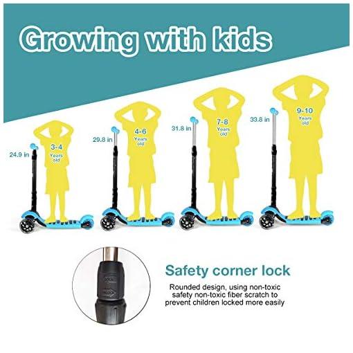 iCode Trottinette Enfant à partir de 2 à 10 Ans Pliable – 3 Roues – Réglable en Hauteur et Roues à LED Clignotantes