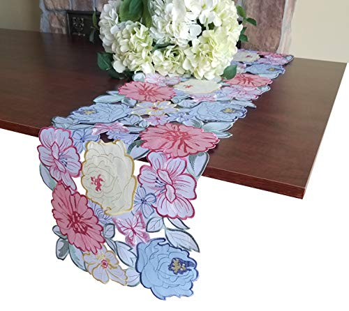 - Spring Easter Flowery Table Runner ,Applique Floral Cutwork Embroidered Table Linen, Home Kitchen Dining Tabletop Decoration, Runner 13