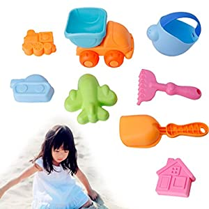 CHONE 8Pcs Baby Beach Toy Set, Kids Bathtub Bathing Bucket Shovel Tools, Kids Outdoor Fun Toys