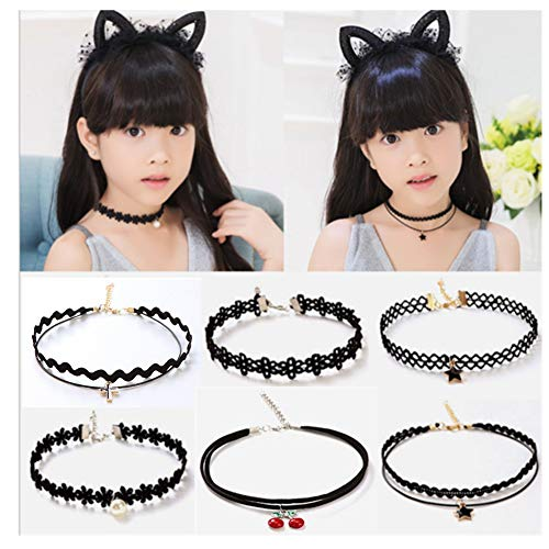(MGQFY 6 PCS Choker Necklace for Little Girls Lace Choker Gothic Little Kids Fashion Jewelry Necklace Set Best Gift for Little Girls Birthday Present)