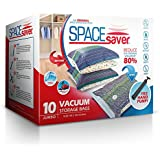 """SpaceSaver Premium Space Saver Vacuum Storage Bags, """"Lifetime Replacement Guarantee"""", Works With Any Vacuum Cleaner, 80% More Storage Space! FREE Hand-Pump for Travel!"""