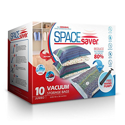 Spacesaver Premium Vacuum Storage Bags (40 x 30 Inches) for Large Items | Works with Any Vacuum Cleaner | No Mold, Mildew, or Bacteria! - Lifetime Replacement Guarantee & Free Hand-Pump for Travel