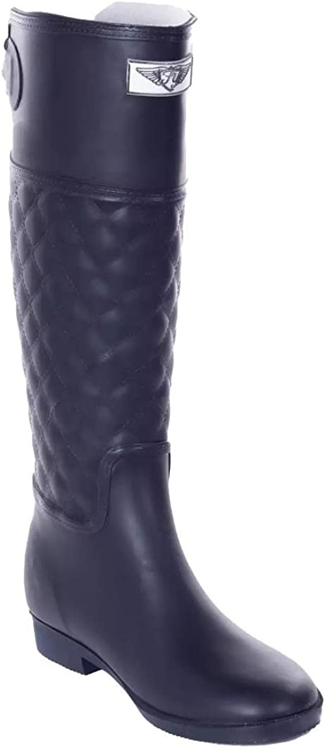Forever Young Womens Quilted Rubber Rain Boots