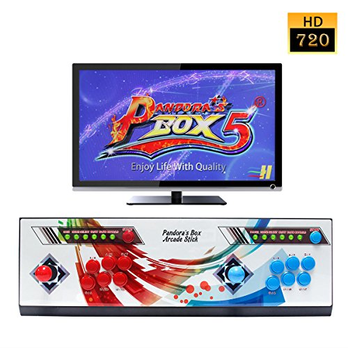 Wisamic Real Pandora's Box 5 Arcade Video Game Console with Customized Buttons, 1280x720 Full HD, Upgraded CPU, etc Support PS3 PC TV 2 Players, No Games Included (6 Buttons) (The Best Two Player Games For Ps3)