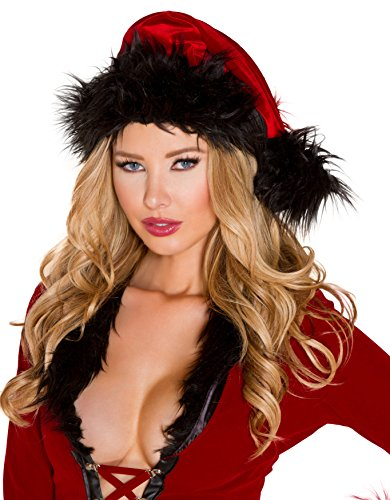 (Sexy Women's Santa Red/Black Christmas Faux Fur Trimmed Hat)