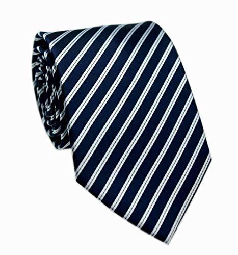 Mens Deep Navy Blue White Extra Long Woven Silk Work Dress Ties Fashion Neckties