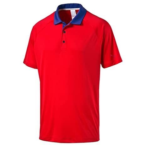 Puma Golf Men's Cresting Short Sleeve D-Vent Polo, High Risk Red, Small