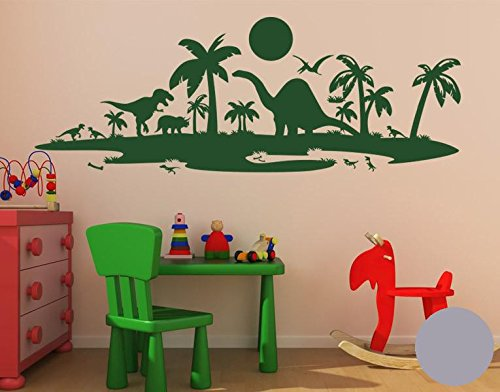 Klebefieber Wandtattoo Dinolandschaft B x H  100cm x 37cm Farbe  dunkelgrün B071L2W4SM Wandtattoos & Wandbilder