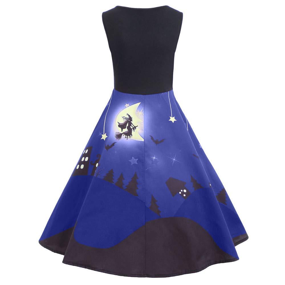 kaifongfu Long Dress,Women Sleeveless Halloween Evening Party Dress(Blue,XL)