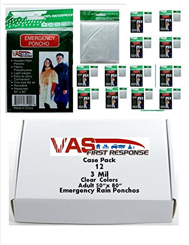 VAS First Response Rain Ponchos | Hood | 3mil | Adult | Emergency | Disposable | Travel | Vacation | School | Field Trips | Hiking | Camping & Everyday Ready Brand (CLEAR, 12 PACK ADULT) by VAS First Response