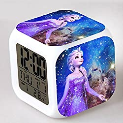 Gouptec NEW 11 Digital Alarm Clock Eles Olaf Cartoon Alarm Glowing Led Color Change Moodicare Clocks Alarm Temperatur (Purple)