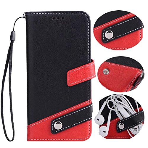 あいまいむさぼり食う寝室を掃除するiphone6s Plus レザー 手帳型 ケース マルチ カラー Diary case カード収納 液晶保護フィルム 付 スタンド機能付き イヤホンコードクリップ iphone6plus 本革風カバー マグネット式 アイフォン6sプラスケース 5.5インチ対応 (iPhone6/6splus, ブラック)