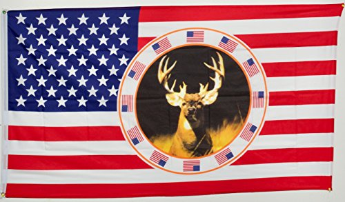U.S USA Deer Flag Super Polyester Nylon Flag 3'x5' House Banner 90cm x 150cm Grommets Double Stitched Premium Quality Indoor Outdoor Pole Pennant (2 Side House Banner)