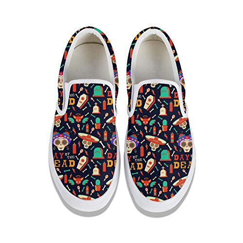 Day of The Dead Skulls Women's Slip-on Canvas Loafer Fashion Sneaker Light Weight Casual Flat Walking Running Shoes