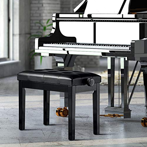Giantex Adjustable Wooden Piano Bench W/Padded Cushion, PU Leather Comfortable Stool with Solid Locking Hinge and Anti-Slip Pad, Good for Home Use Piano Stool