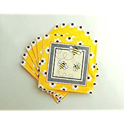 WallyE Bumble Bee Napkins, Bumble Bee Baby Shower Party Supplies, 20 Pack