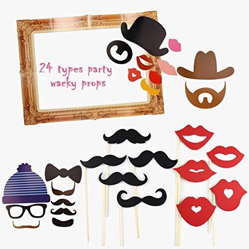OULII 24pcs Party Supplies Photo Booth Large Picture Frame for Wedding Birthday - Booth Cardboard Frame Photo