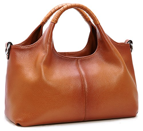 Iswee Handbags for Women Fashion Genuine Leather Shoulder Top-handle Purse For Ladies Tote Bag Hobo Bags Satchel Designer (Sorrel)