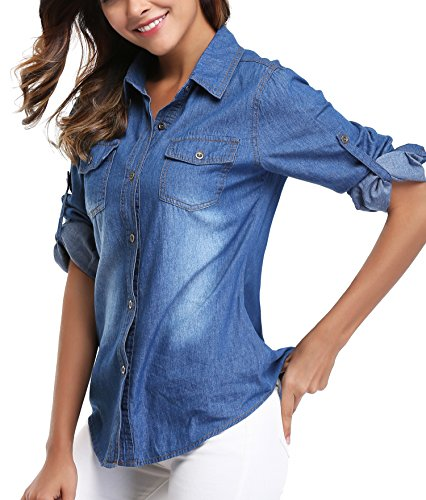 92799b34e51 Women s Denim Shirt Long Sleeves Jean Shirts Blouse Tops Washed Roll up  Button Down Western Pockets
