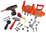 Click n' Play 23 piece Kids Pretend Play Real Working Toy Tool Set Includes Powered Drill, Hammer, Saw, Tape Measure, Tool Belt and other Construction Accessories