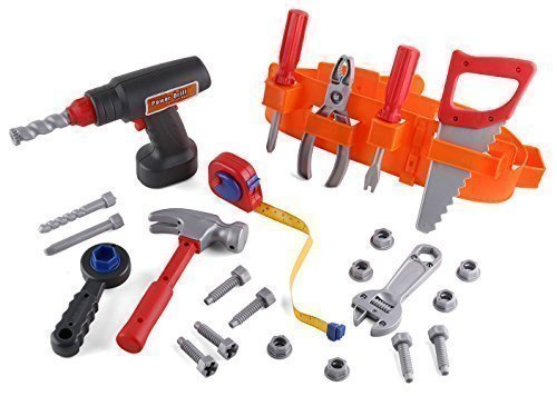 Click n' Play Toy Tool Set Includes Powered Drill, Hammer, S