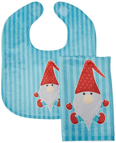 Caroline's Treasures Merry Christmas Gnome No. 2 Baby Bib & Burp Cloth, Multicolor, (2 Christmas Baby Bibs)
