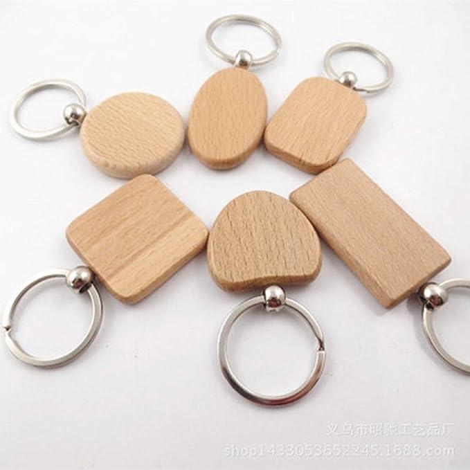 Amazon.com: Juego de 10 llaveros de madera en blanco ...