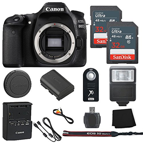 Sandisk Model - Canon EOS 80D 24.2MP Digital SLR Camera Body Only + 2 32GB Sandisk Ultra SD Cards + Slave Flash + Wireless Shutter Remote+ Memory Card Reader + Cleaning Cloth - International Model