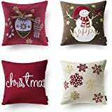 "Phantoscope New Merry Christmas Embroidery Snowman Letter Snow Flakes Throw Pillow Case Cushion Cover 18"" x 18"" 45cm x 45cm Set of 4"