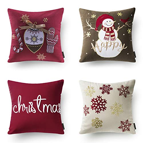 Phantoscope Set of 4 New Merry Christmas Embroidery Snowman Letter Snow Flakes Throw Pillow Case Cushion Cover 18 x 18 45cm x 45cm