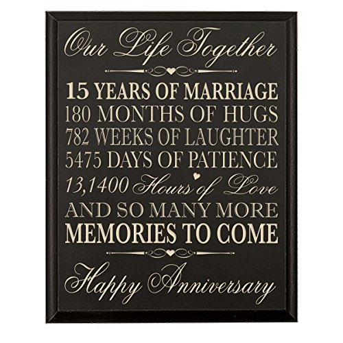 15th Wedding Anniversary Gift for Couple, 15th Anniversary Gifts for Her,15th Wedding Anniversary Gifts for Him Special Dates to Remember, By Dayspring Milestones (Black)