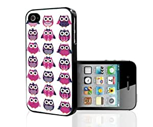 Girly Pink and Purple Owls Pattern Hard Snap on Phone Case (iPhone 4/4s)