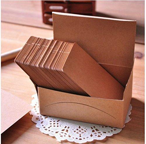 AKOAK 100 Pieces 9 x 5.4 cm Kraft Paper Card Double-sided Available Blank Kraft Cardboard Word Card Message Card DIY Blank Gift Card (Available Paper)