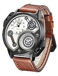 Jechin Mens Dual Time Quartz Wrist Watch with Unique Big Face Cool Dial Design,Comfortable Leather Band